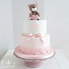 Cha the Bebe Bolo Tray - - baby kuchen - Tortas Baby Shower Niña, Gateau Baby Shower, Baby First Birthday Cake, Birthday Cake Girls, Teddy Bear Birthday Cake, Christening Cake Girls, Christening Cake Toppers, Bolo Fack, Rodjendanske Torte