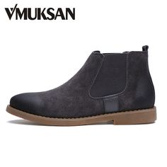 VMUKSAN 2017 New Men s Boots Suede Chelsea Boots Winter Shoes For Men Moc  Toe Fashion Boots 79a7cfcf583b
