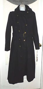 $275 VINCE CAMUTO Military Maxi Coat Double Breasted Wool Coat Size Small NAVY