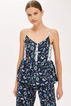 b76e5b1705 Topshop Blue Floral Peplum Pyjama Camisole Top  Floral Blue Topshop  Lingerie Sleepwear