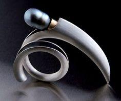 Anticlastic ring Silver, gold, Tahitian pearl Juha Koskela design www.juhakoskela.com