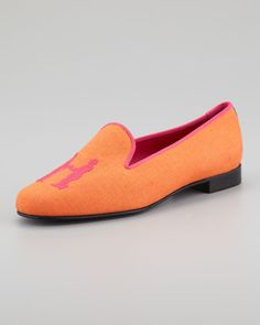 Hadleighs Audrey Linen Smoking Loafer, Orange/Pink - Neiman Marcus