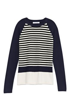 Navy Patchwork Raglan Stripe Sweater by J.W. Anderson Now Available on Moda Operandi