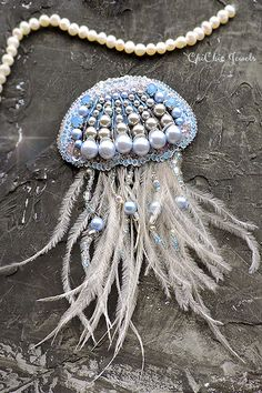 Embroidery jellyfish beaded brooch by ChiChicJewels. Beaded brooches of bird feather, Flowers and heart, swallow beads brooch luxury looks, sweater and dress brooches for woman outfit. If you liked this item, please PIN this post😊 Bead Embroidery Patterns, Bead Embroidery Tutorial, Beaded Jewelry Patterns, Embroidery Jewelry, Beaded Embroidery, Handmade Accessories, Jewelry Accessories, Handmade Jewelry, Women Jewelry