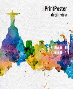 Rio print, Rio de Janeiro, Rio de Janeiro poster, art print, Brazil, city…