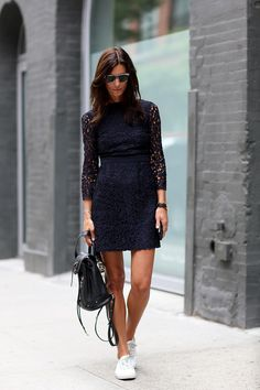 NYFW Street Style Day 6: Hedvig Opshaug proved that a LBD may look even better with little white sneakers.