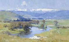 View The Murray and the Mountain By Arthur Streeton; oil on canvas; 64 x 102 cm; Access more artwork lots and estimated & realized auction prices on MutualArt. Watercolor Landscape, Landscape Art, Landscape Paintings, Australian Painting, Australian Artists, Beautiful Paintings, Beautiful Landscapes, Oil Painting On Canvas, Watercolor Paintings