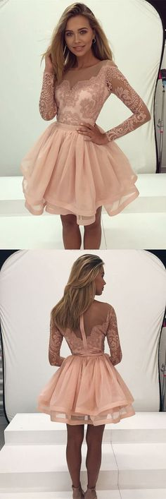long sleeve pearl pink homecoming dresses,semi formal lace dress for teens,cute tulle short prom dress,ball gown party gowns #shortpromdresses