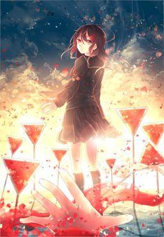 (´・ω・`) Ayano Tateyama from Mekakucity Actors Kagerou Project, Manga Anime, Manga Art, Sad Anime Girl, Anime Art Girl, Anime Girls, Vocaloid, Art Anime Fille, Red Spider Lily