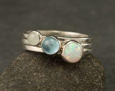 Stacking Rings- Silver Stacking Ring Set- Stack Rings- Stone Rings- Blue Topaz Ring, Opal Ring, Aquamarine Ring $98