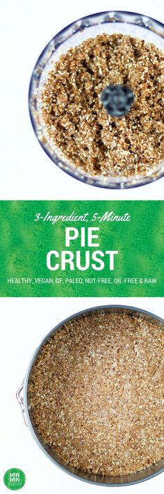 Nut-Free Pie Crust - healthy vegan raw paleo glutenfree and oilfree Paleo Dessert, Gluten Free Desserts, Healthy Desserts, Raw Food Recipes, Vegan Gluten Free, Gluten Free Recipes, Clean Eating Recipes, Sweet Recipes, Dairy Free
