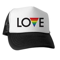 9e180676a83 CafePress - Love - Gay Pride - Trucker Hat