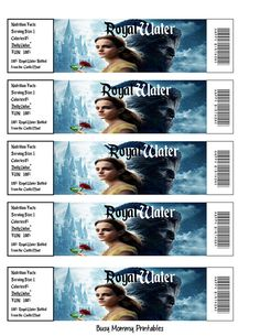 Beauty and the Beast Movie Water Bottle Wraps Water Bottle Beauty And The Beast Movie, Thank You For Order, Belle And Beast, Water Bottle Labels, Party Printables, Digital Image, Wraps, Coats, Rap