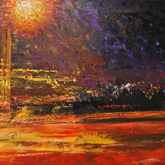 Night's traffic by Inese Auzina Pastel Paintings, Impressionism, Oil On Canvas, Watercolor, Abstract, Night, Prints, Beautiful, Art