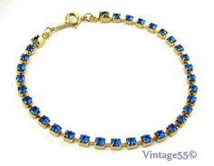 (SOLD) Sapphire Blue Rhinestone Bracelet Avon by Vintage55 on Etsy, $12.00