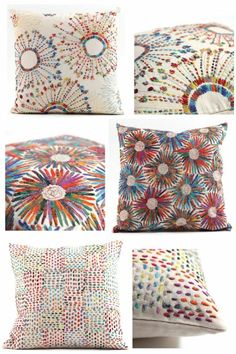 Colourful, embroidered  cushion covers worked in simple stitches by Adrienne