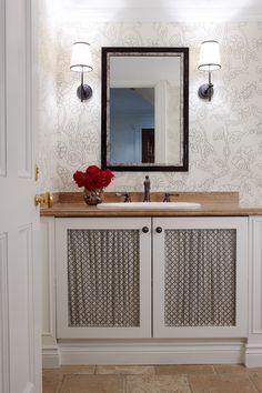 Powder room, love the fabric inserts - Anne Hepfer Designs Inc.