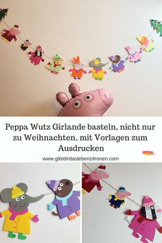 Do your children like Peppa Wutz? Leni loves Peppa, so we made this garland that you can not just make for Christmas. I made templates for you, with and without Santa hats. Peppa Pig DIY for little and big Peppa fans. Peppa Pig, Diy Home Decor Projects, Diy Projects To Try, Diy 2019, Painted Flower Pots, Christmas Hat, Christmas Crafts, Wine Bottle Crafts, Clipart