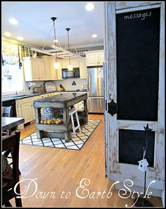 I love the style she uses for decorating her home.  Some of my favorites:  the shop lamp clipped to a headboard for a reading light, an antique door to replace the standard interior door leading to her basement, an old ladder in the kitchen that could be used as a pot rack, her master bedroom, her paint colors, her front entry (outdoor)...