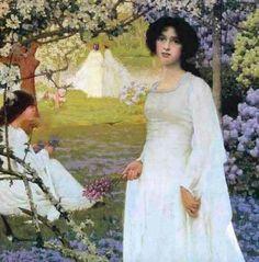Retrato romántico por el académico inglés Arthur Herbert Buckland. Me interesa el vestido