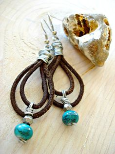 Leather Earrings  Leather Jewellery  Wire by HandcraftedYoga, $34.00
