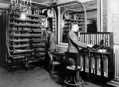 Old school wiring management. Inside a telegraph office in France, 1918