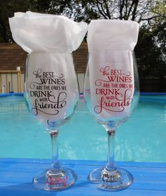 Wine glass with sayingwine glasses with vinylwine by kdbcrafts