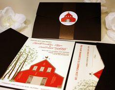 Red Barn Wedding Invitations Sample Rustic Wedding by vohandmade