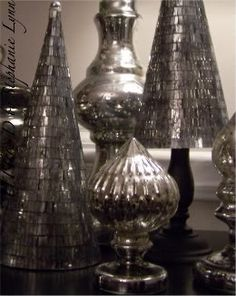 Faux Mercury Glass Trees {makeover from the dollar store} - Under the Table and Dreaming