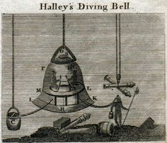 Halley's Diving Bell. The first device to dive to great depths by Edmund Halley,  17th century