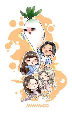 MAMAMOO Anime Friendship, Wheein Mamamoo, Solar Mamamoo, Kpop Drawings, Kpop Fanart, Kpop Girl Groups, Cute Wallpapers, Chibi, Disney