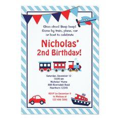 Train Birthday Party Invitations Transportation Invitation Invite Trains 2nd