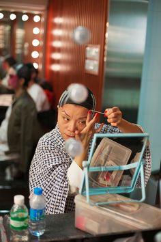 Chinese Opera, applying make-up, woman - City Hall, Hong Kong   by Wolf Nitschke