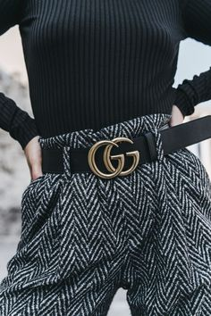 Black Bodysuit + Gucci Belt #streetstyle