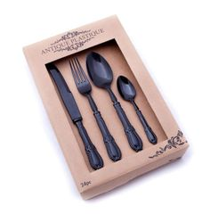 Antique Plastique is Nicolson Russell's range of designer, vintage styled acrylic cutlery. Fabulous for entertaining at parties, they add charm to your table se Cutlery Set, Party Themes, Theme Parties, Vintage Fashion, Entertaining, Antiques, Sith, Black Gold, Design