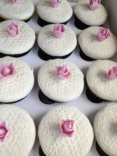 Lace & Rose Wedding Cupcakes