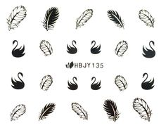 Gel Manicure, Nails, Leaf Drawing, Aesthetic Stickers, Nail Art Stickers, 3d Nail Art, Black Swan, Uv Gel, Feather