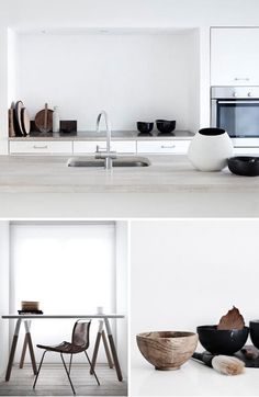 white, black and natural kitchen