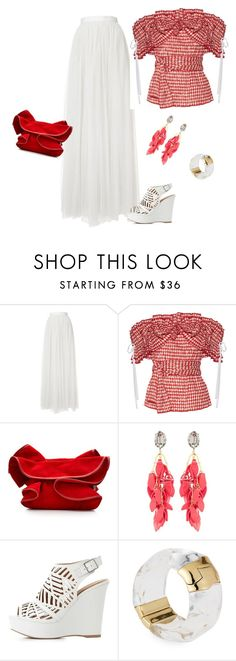 """""""outfit 5563"""" by natalyag ❤ liked on Polyvore featuring Needle & Thread, Rosie Assoulin, Nina Ricci, Marni, Charlotte Russe and Alexis Bittar"""