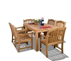 Amazonia Teak Oslo 7-Piece Teak Dining Rectangular Set by Amazonia Teak. $2077.17. Color: light brown. Free feron's wood sealer/preservative for longest durability. Penetrating oil that works great against the effects of air pollution salt air, and mildew growth. For best protection, perform this maintenance every season or as often as desired. Some assembly required. 1 rectangular table 35w x 63d x 29h 6 armchairs 25w x 23d x 35h. 7 individual pieces. Great Quality, elegant ...