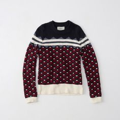 Abercrombie & Fitch Fair Isle Sweater ($41) ❤ liked on Polyvore featuring tops, sweaters, navy pattern, patterned tops, navy blue sweater, print sweater, patterned sweaters and intarsia sweater