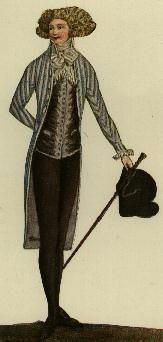 Journal de la Mode et du Gout, 1790.  I could do without the giant clown hair, but men in the 1790s looked HOT.
