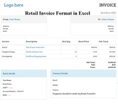 invoice format excel sheet