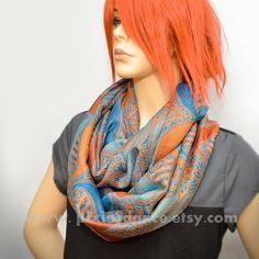 Pashmina Infinity scarf  Orange Blue Paisley scarf by Pixiesdance, $25.00