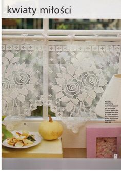 """Photo from album """"Burda special on Yandex. Crochet Curtain Pattern, Crochet Curtains, Curtain Patterns, Lace Curtains, Crochet Tablecloth, Filet Crochet, Crochet Cross, Crochet Stitches, Crochet Patterns"""