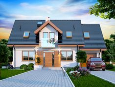 Wizualizacja DN KENDRA XS CE Roof Design, Exterior Design, House Design, Balcony Window, Bungalow Renovation, House Elevation, Classic House, Pool Houses, My Dream Home
