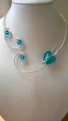 Your place to buy and sell all things handmade - Turquoise wedding necklace turquoise wedding jewelry heart - Turquoise Wedding Jewelry, Bridal Jewelry, Seashell Jewelry, Beaded Jewelry, Bijoux Design, Schmuck Design, Heart Jewelry, Cute Jewelry, Jewelry Model