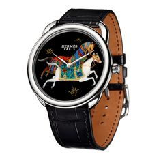 HERMÈS Arceau Cheval d'Orient In a cavalcade of motifs inspired by one of the iconic service sets by the Maison Hermès, Arceau Cheval d'Orient highlights the art of French lacquer through three horological compositions (See more at En/Fr/Es: http://watchmobile7.com/articles/hermes-arceau-cheval-d-orient) #watches #montres #relojes #hermès @hermesofficial