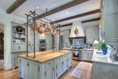 The French Tangerine: ~ dream house for sale Love the pot rack! Big Kitchen, Kitchen Ideas, Kitchen Inspiration, Kitchen Stuff, Kitchen Designs, Kitchen Island, Design Inspiration, Georgia Homes, French Country Decorating