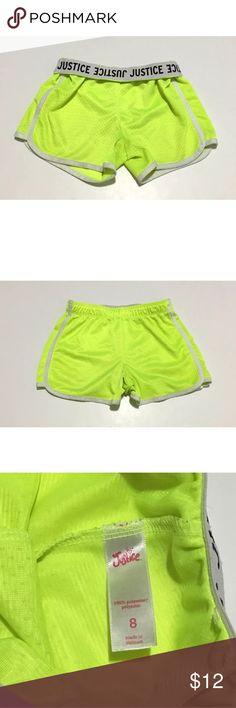 Justice Girls Running Shorts Athletic size 8 Justice fold over athletic shorts, bright highlighter yellow/green, girls size 8, 100% polyester  Waist: 10 1/2 inches Length, Outseam: 9 1/2 inches  Inventory# AG15 Justice Bottoms Shorts